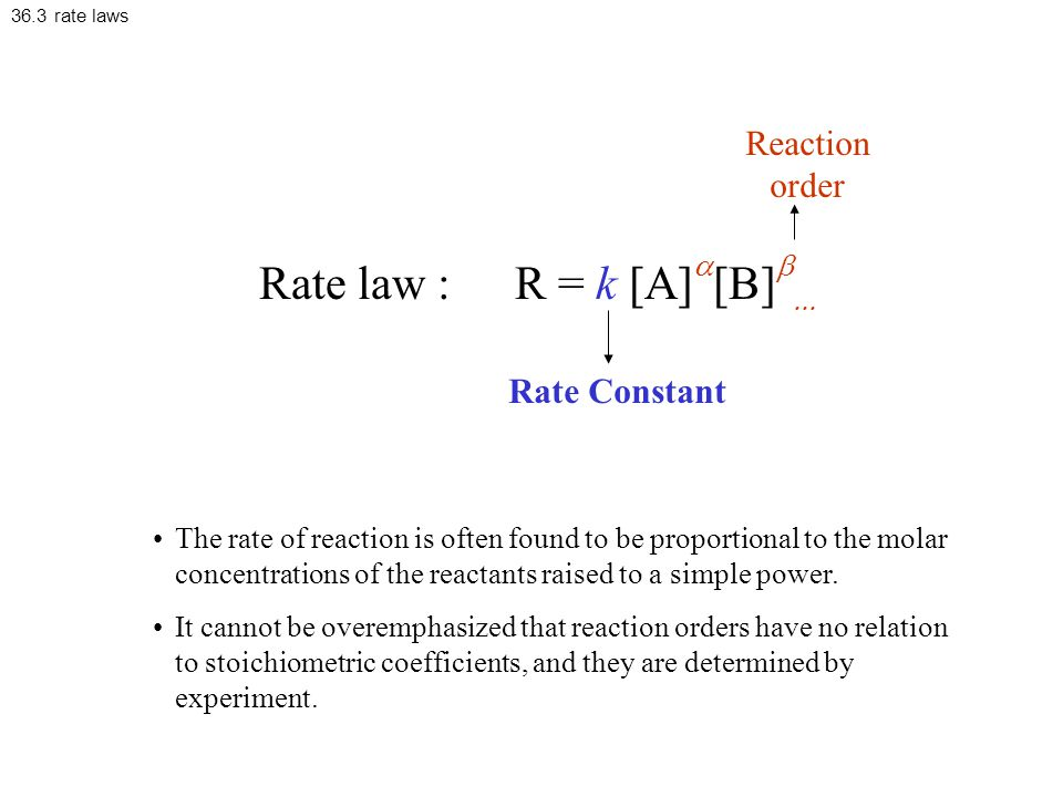 Rate law : R = k [A]a[B]b... Reaction order Rate Constant